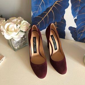 Sergio Rossi burgundy block heel pumps